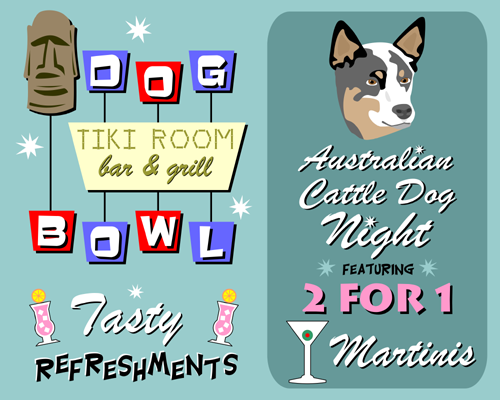 Australian Cattle Dog Bowling Martini Pop Art Print