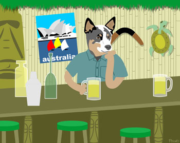 Australian Cattle Dog Beer Mug Tiki Bar Pop Art Print