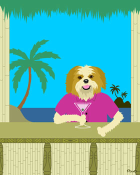 Shih Tzu Dog Martini Bamboo Tiki Bar Pop Art Print