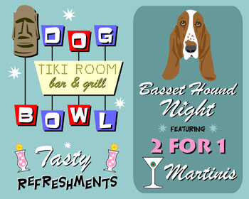 Basset Hound Dog Bowl Bowling Martini Pop Art Print