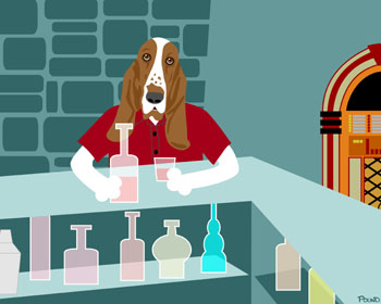 Basset Hound Whiskey Pub Dog Pet Pop Art Print