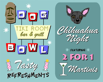 Black Chihuahua Dog Bowling Tiki Martini Pop Art Print
