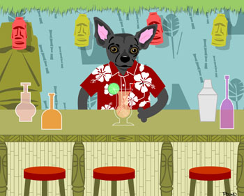 Black Chihuahua Tiki Bar Original Dog Pop Art Print