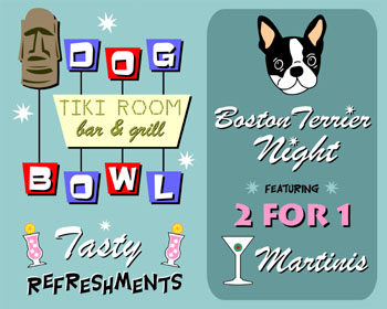 Boston Terrier Dog Bowling Game Tiki Bar Pop Art Print