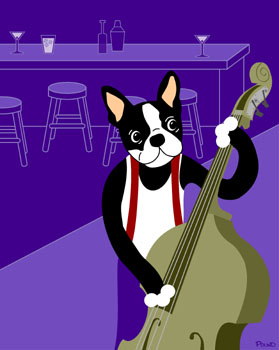 Boston Terrier Dog Acoustic Upright Jazz Bass Art Print
