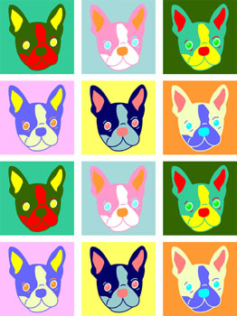 Boston Terrier Dog Original Modern Colors Pop Art Print