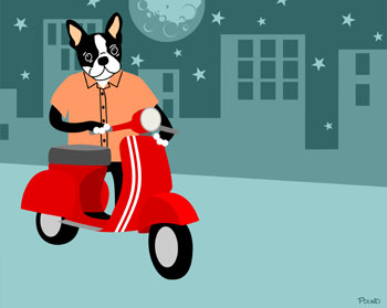 Boston Terrier Dog Vespa Moped Scooter Pop Art Print