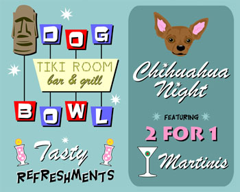 Brown Chihuahua Dog Bowling Tiki Martini Pop Art Print