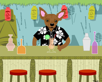 Brown Dog Chihuahua Tiki Bar Original Pop Art Print