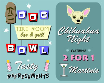 Chihuahua Dog Bowling Game Sign Tiki Bar Pop Art Print