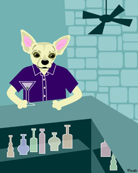 Chihuahua Martini Bar Original Dog Pop Art Print