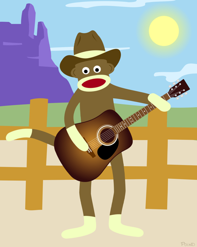 Sock Monkey Country Music Acoustic Guitar Art Print
