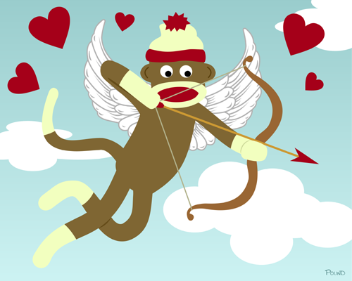 Sock Monkey Cupid Valentine Heart Arrow Angel Art Print
