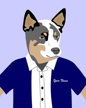 Australian Cattle Dog Customized Name Pop Art Print