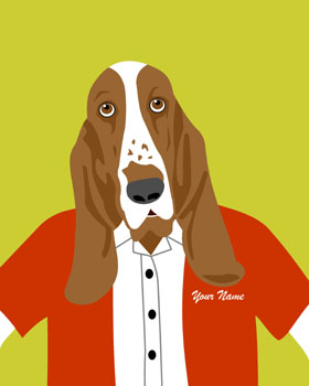 Basset Hound Customized Name Dog Pop Pop Art Print