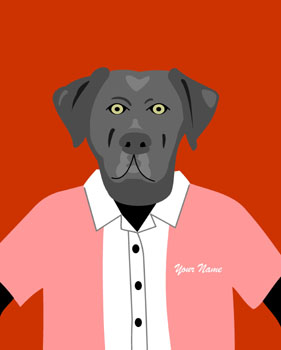 Black Labrador Retriever Custom Name Dog Pop Art Print