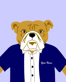 Bulldog Dog Customized Name and Colors Pop Art Print