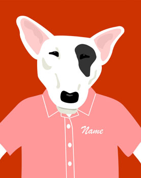 English Bull Terrier Dog Customized Name Pop Art Print