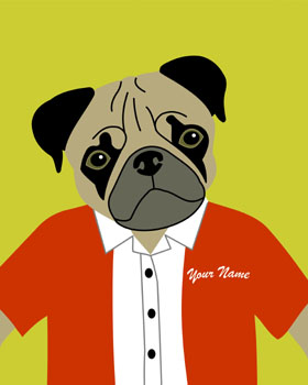 Pug Dog Picture Customized Name Pop Art Print
