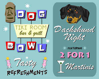 Dachshund Doxie Dog Bowl Bowling Martini Pop Art Print
