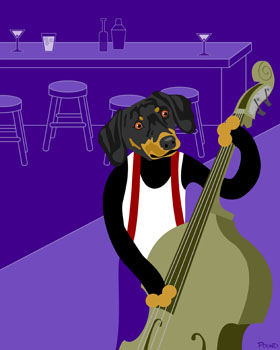 Dachshund Doxie Dog Upright Jazz Bass Pop Art Print
