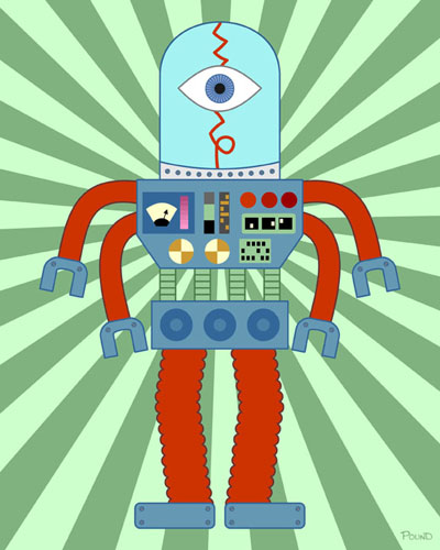 Scary Eyeball Robot Original Pop Art Print