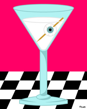 Glass Eye Human Eyeball in Martini Funny Pop Art Print
