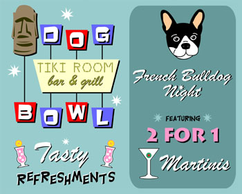 French Bulldog Dog Bowling Tiki Martini Pop Art Print