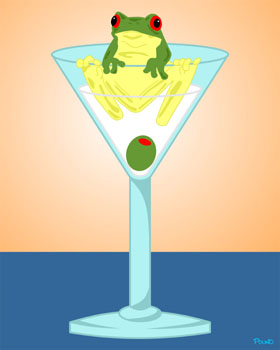 Frog in Martini Glass with Olive Pop Art Print