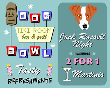 Jack Russell Terrier Dog Bowling Martini Pop Art Print