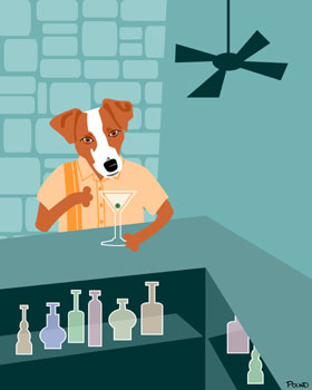 Jack Russell Terrier Dog Martini Bar Pop Art Print