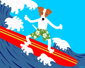 Jack Russell Terrier Surfer Surfboard Pop Art Dog Print