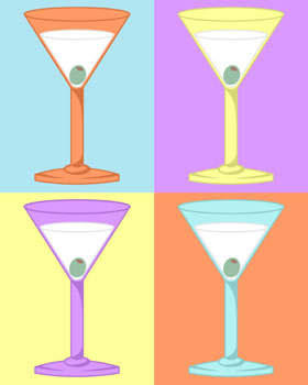 Four Martinis Colorful Martini Olive Pop Art Print