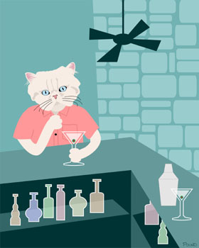 Persian Cat Martini Bar Original Kitty Pop Art Print