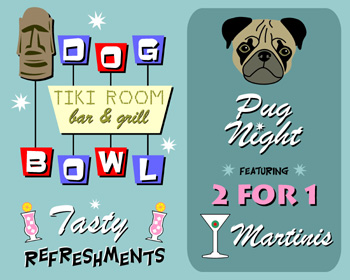 Pug Dog Bowl Bowling Martini Bowler Pop Art Print