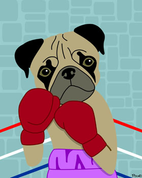 Pug Dog Boxer with Boxing Gloves Pop Fine Art Print