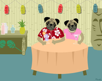 Pug Dog Boy & Girl Tiki Bar Original Pop Art Print