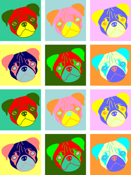 Pug Dog 12 Pugs Multiple Colorful Pet Pop Art Print