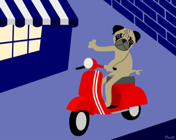 Pug Vespa Motor Scooter Pop Dog Art Print