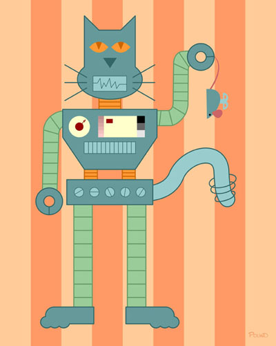 Robot Cat & Wind Up Mouse Original Pop Art Print