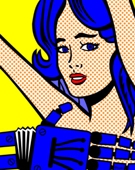 Sexy Woman Robot Hand Original Pop Art Print