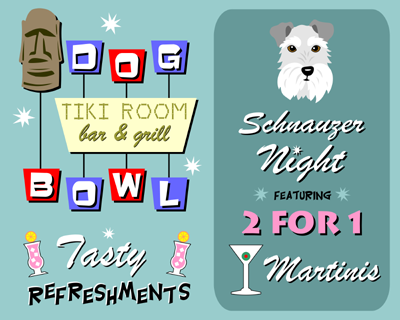 Schnauzer Dog Bowl Bowling Tiki Martini Bar Art Print