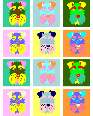 Schnauzer Dog Original Modern Colors Pop Art Print