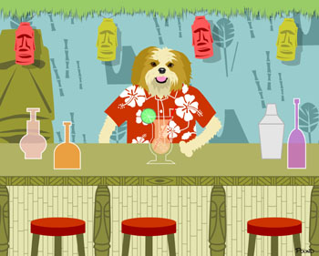 Shih Tzu Dog Cocktail Shaker Tiki Bar Pop Art Print