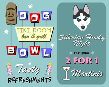 Siberian Husky Dog Bowl Bowling Martini Pop Art Print