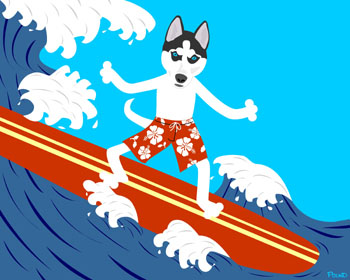 Siberian Husky Dog Surfer Surf Board Surfing Art Print