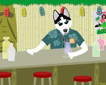 Siberian Husky Tiki Bar Room Cocktail Dog Pop Art Print