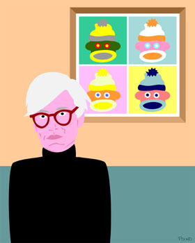 Sock Monkey and Andy Warhol Pop Art Print
