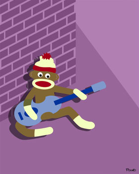Sock Monkey Blue Acoustic Guitar Player Pop Art Print