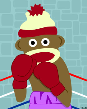 Sock Monkey Boxer Boxing Gloves Pop Art Print